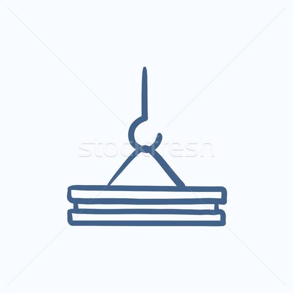 Vinç kanca kroki ikon vektör yalıtılmış Stok fotoğraf © RAStudio