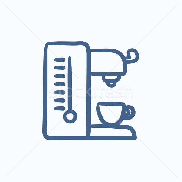 Сток-фото: кофеварка · эскиз · икона · вектора · изолированный · рисованной