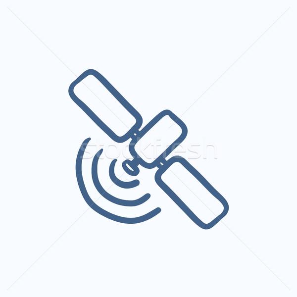 Műhold rajz ikon vektor izolált kézzel rajzolt Stock fotó © RAStudio