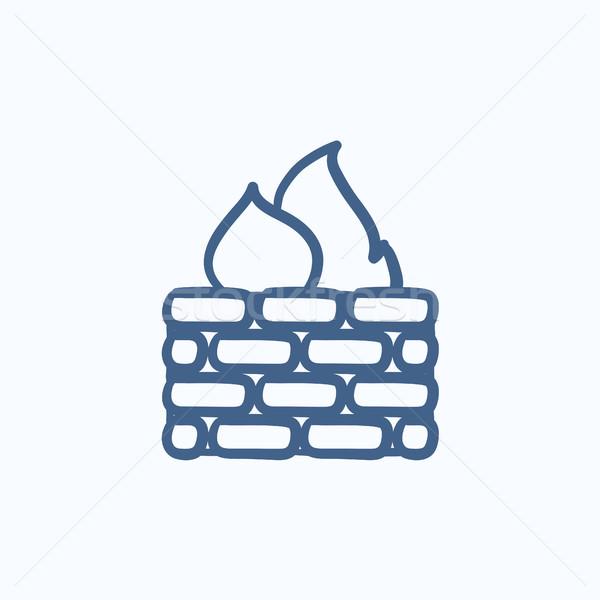 Tűzfal rajz ikon vektor izolált kézzel rajzolt Stock fotó © RAStudio