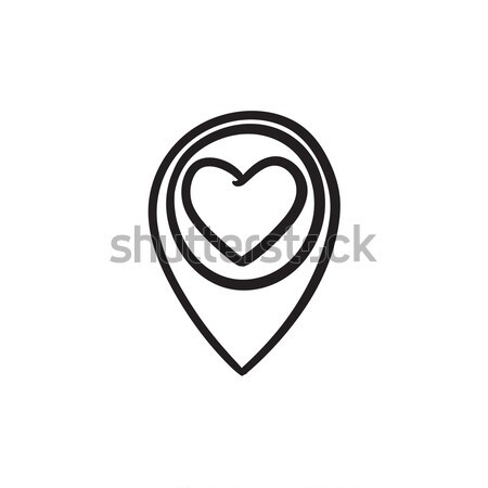 Map pointer with heart sketch icon. Stock photo © RAStudio