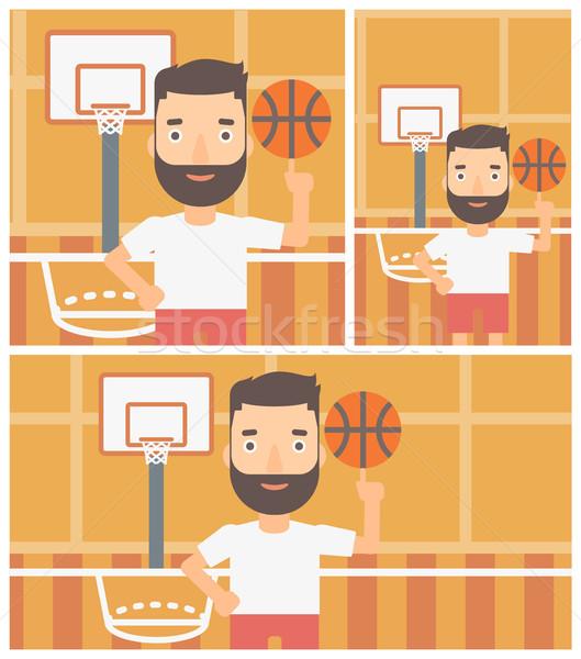 Pelota hombre barba baloncesto Foto stock © RAStudio