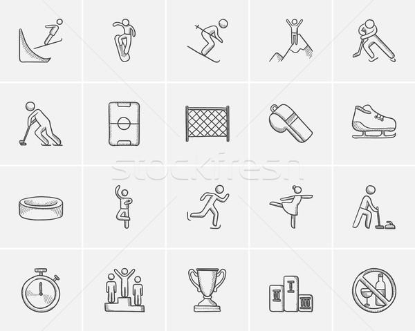 Winter sport sketch icon set. Stock photo © RAStudio