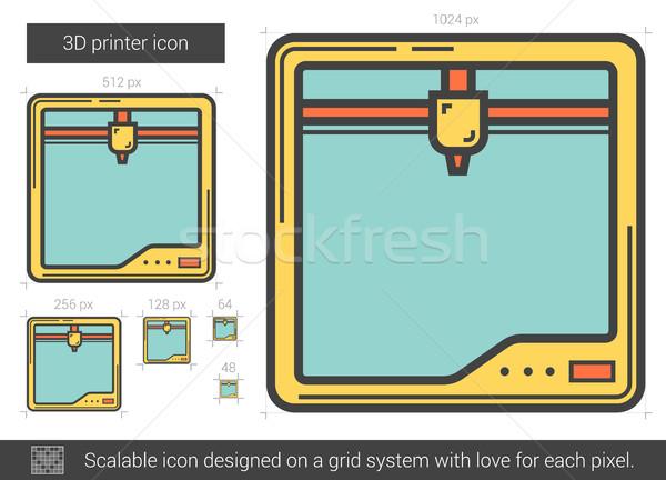 Trzy drukarki line ikona wektora odizolowany Zdjęcia stock © RAStudio
