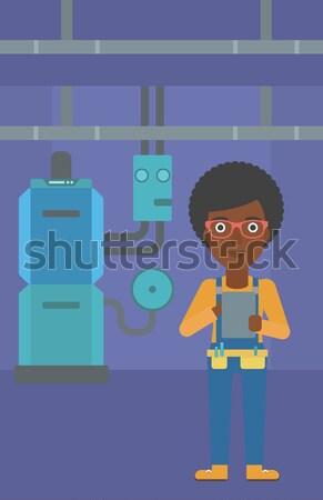 Confident builder with tablet. Stock photo © RAStudio