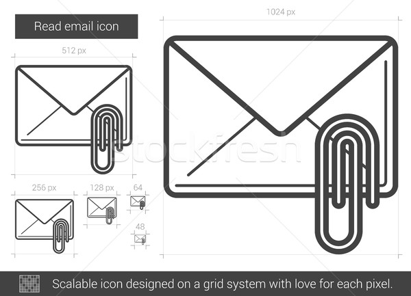 Stockfoto: Lezen · e-mail · lijn · icon · vector · geïsoleerd