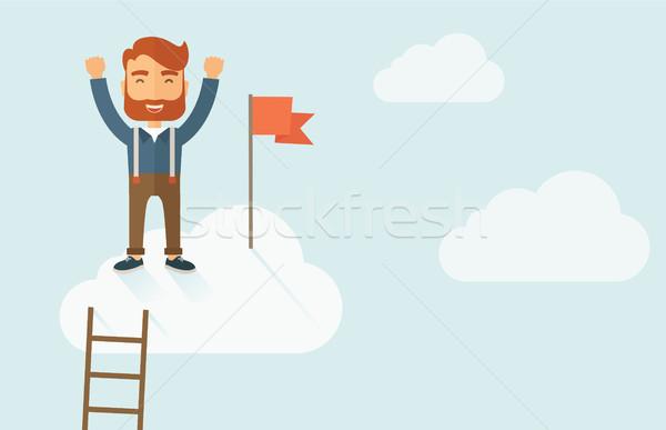 Başarılı işadamı merdiven ayakta üst Stok fotoğraf © RAStudio