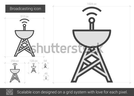 Radiodifusão linha ícone vetor isolado branco Foto stock © RAStudio