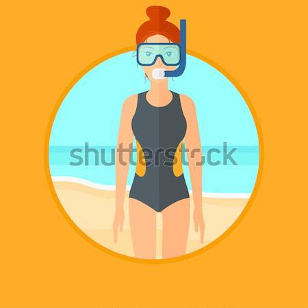 Plaj dalış takım elbise maske tüp Stok fotoğraf © RAStudio