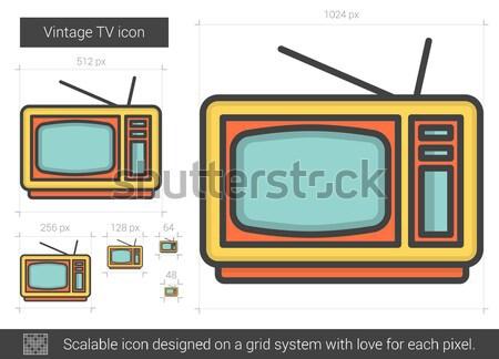 Klasszikus tv vonal ikon vektor izolált Stock fotó © RAStudio
