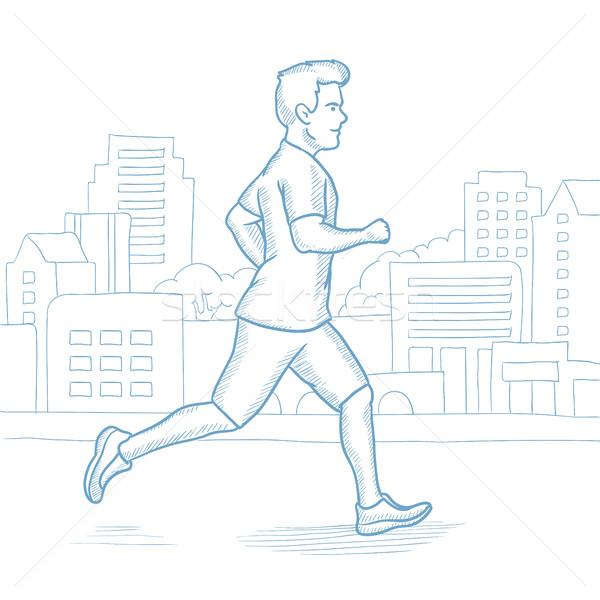 Człowiek jogging uruchomiony miasta mężczyzna Zdjęcia stock © RAStudio