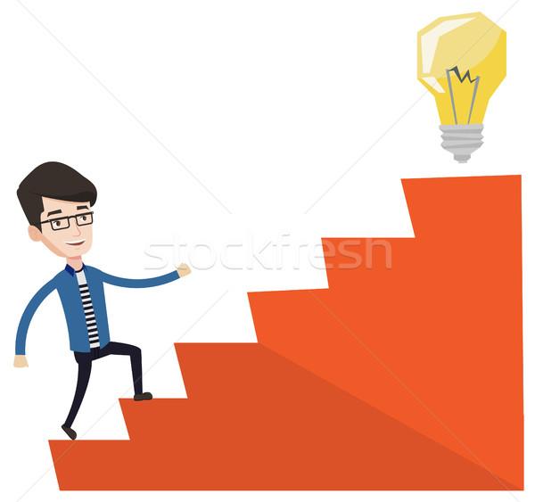 Сток-фото: бизнесмен · ходьбе · наверх · Идея · лампа