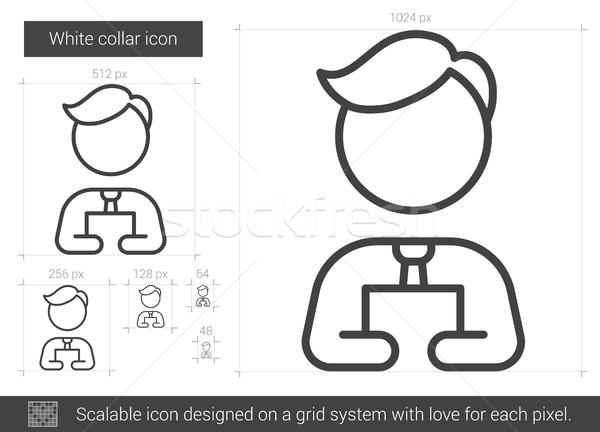 Stock fotó: Fehérgalléros · vonal · ikon · vektor · izolált · fehér