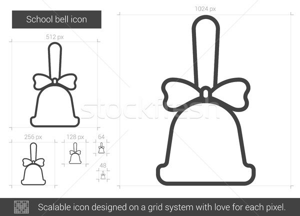 Schule Glocke line Symbol Vektor isoliert Stock foto © RAStudio
