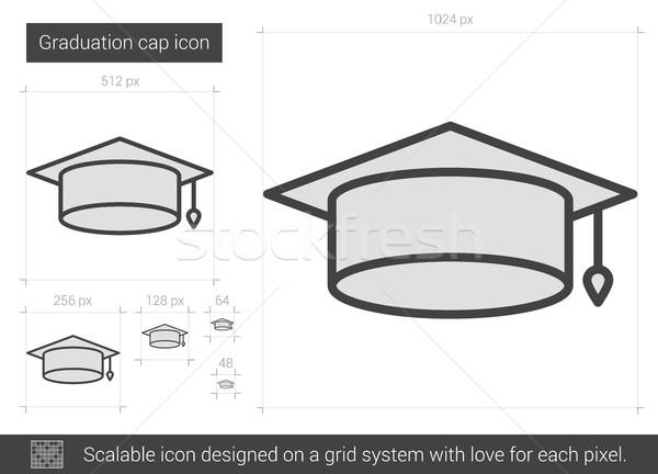 Afstuderen cap lijn icon vector geïsoleerd Stockfoto © RAStudio