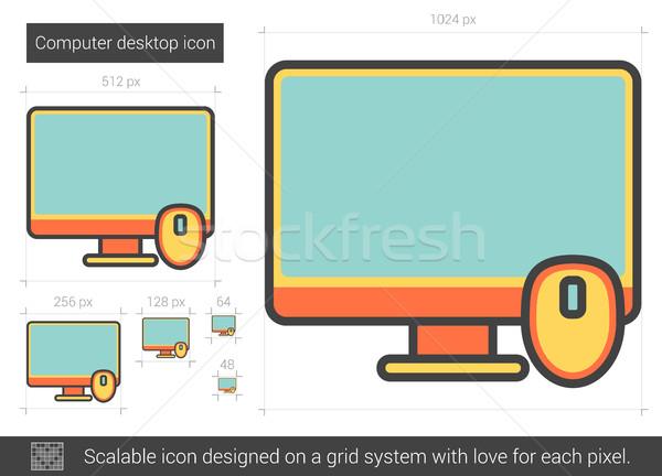 Computer desktop lijn icon vector geïsoleerd Stockfoto © RAStudio