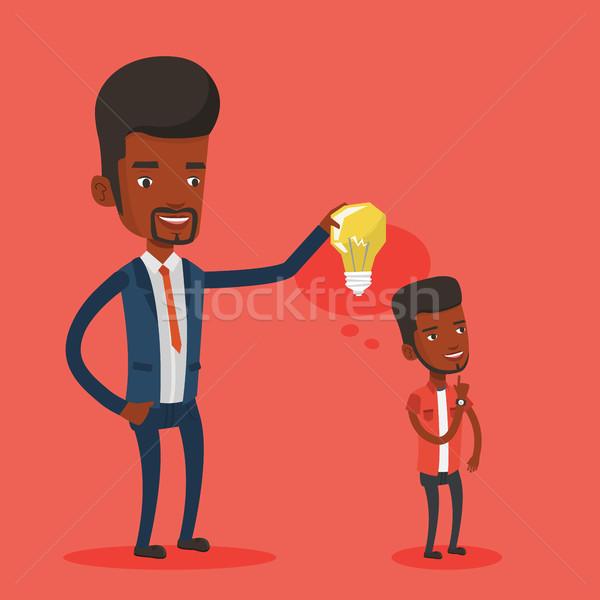 ストックフォト: ビジネスマン · アイデア · 電球 · パートナー · 小さな