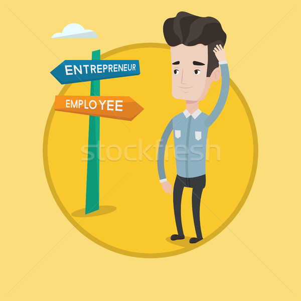 Confused man choosing career pathway. Stock photo © RAStudio