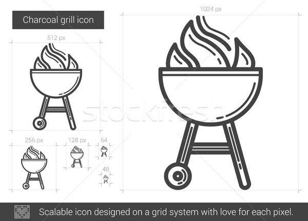 Kömür ızgara hat ikon vektör yalıtılmış Stok fotoğraf © RAStudio