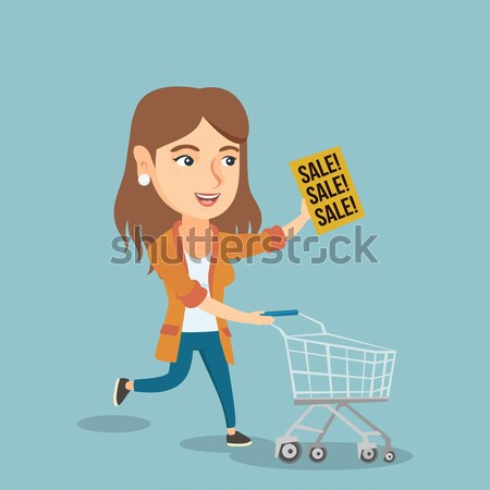 Woman running in hurry to the store on sale. Stock photo © RAStudio