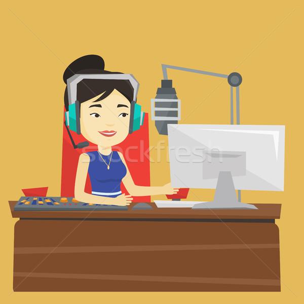 Female dj working on the radio vector illustration Stock photo © RAStudio