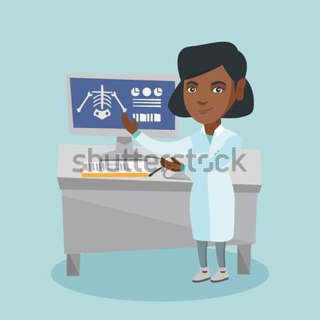Estudante trabalhando laboratório classe desapontado Foto stock © RAStudio