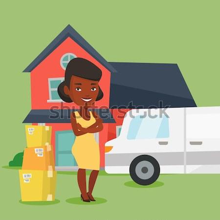 Vrouw bewegende huis huiseigenaar karton dozen Stockfoto © RAStudio