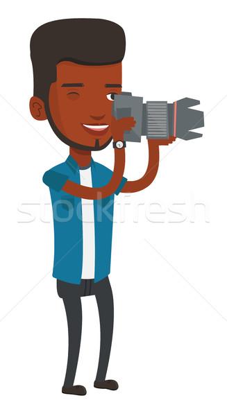 фотограф фото рабочих цифровая камера улыбаясь Сток-фото © RAStudio