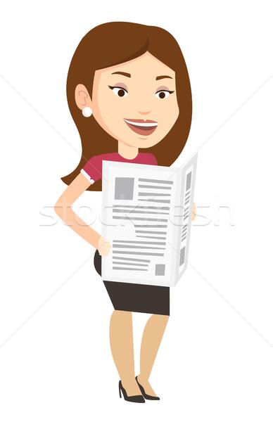 Woman reading newspaper vector illustration. Stock photo © RAStudio