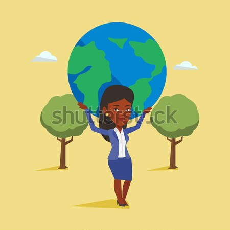 Femme d'affaires monde femme d'affaires grand Photo stock © RAStudio