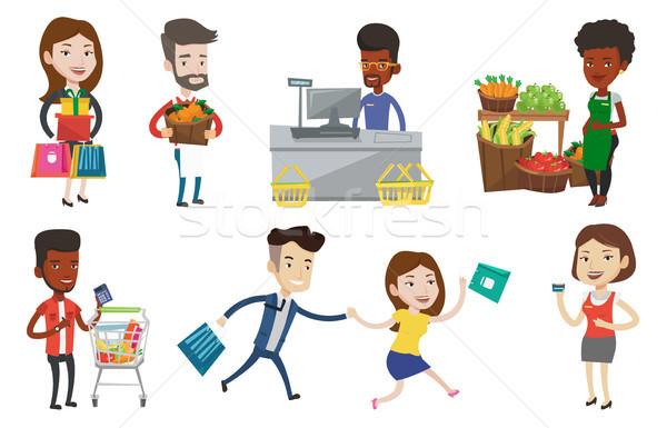 ベクトル セット ショッピング 人 女性 ストックフォト © RAStudio