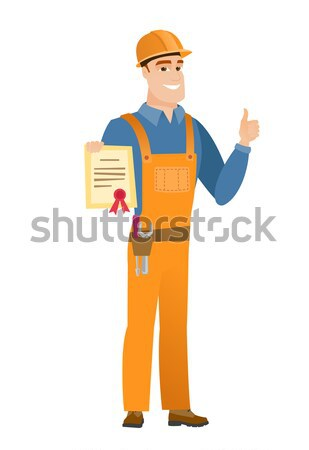 Builder with clipboard giving thumb up. Stock photo © RAStudio