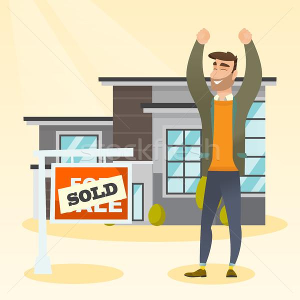 Immobilienmakler verkauft Plakat aufgeregt stehen Stock foto © RAStudio