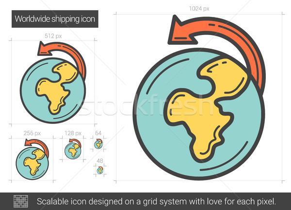 światowy wysyłki line ikona wektora odizolowany Zdjęcia stock © RAStudio