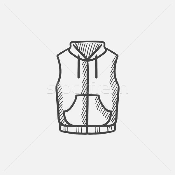 Gilet vers le bas veste croquis icône web Photo stock © RAStudio