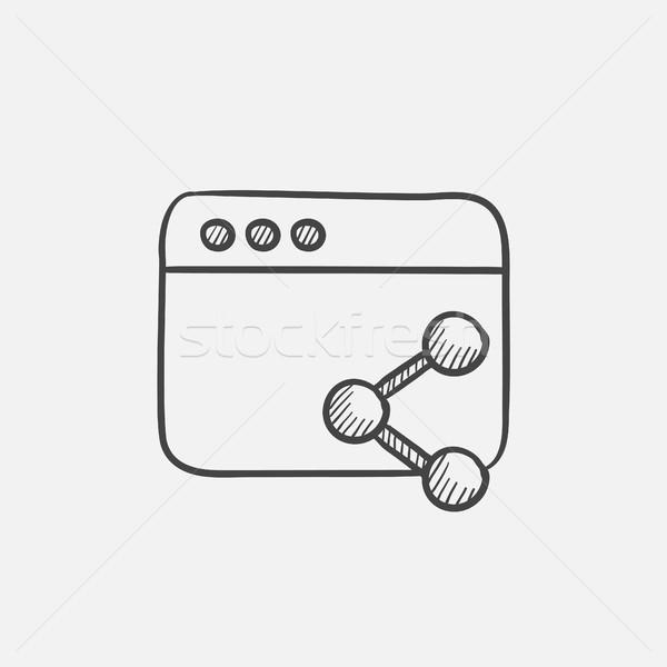Böngésző ablak szimbólum rajz ikon háló Stock fotó © RAStudio