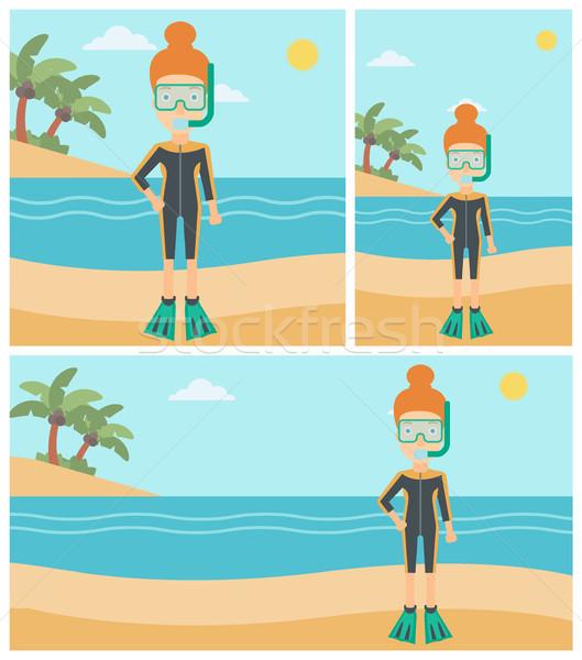 Vrouwelijke strand vrouw duiken pak Stockfoto © RAStudio