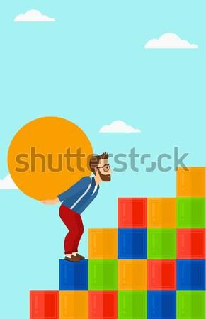 Człowiek konkretnych piłka w górę Zdjęcia stock © RAStudio