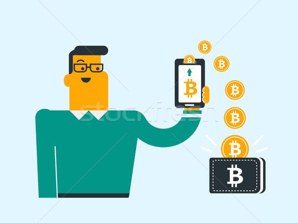 Bitcoin érmék telefon pénztárca fiatal kaukázusi Stock fotó © RAStudio