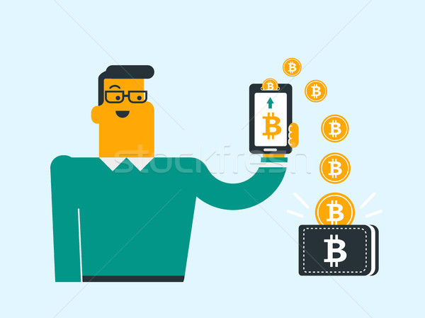 Bitcoin монетами телефон бумажник молодые кавказский Сток-фото © RAStudio