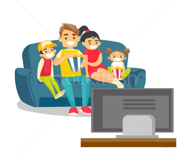 Caucasian white family watching television at home Stock photo © RAStudio