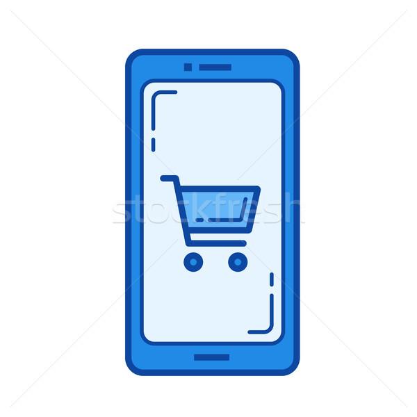Stock fotó: Online · bolt · vonal · ikon · vektor · izolált