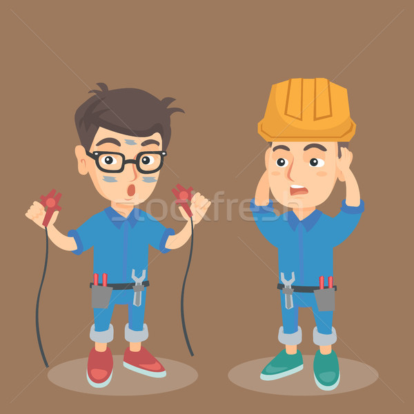 Caucasian electrician boy got an electric shock. Stock photo © RAStudio