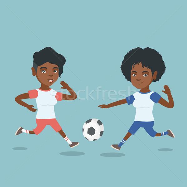 Сток-фото: два · африканских · Футбол · мяча