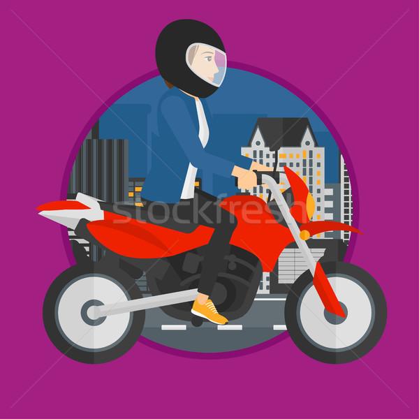 Mulher equitação motocicleta mulher jovem capacete noite Foto stock © RAStudio
