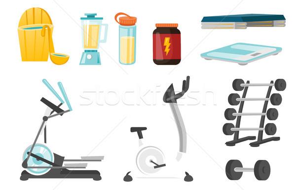 Sport felszerlés vektor rajz illusztrációk szett Stock fotó © RAStudio