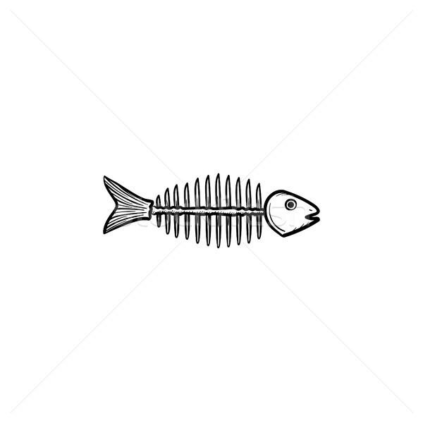 Marcio pesce scheletro ossa sketch Foto d'archivio © RAStudio