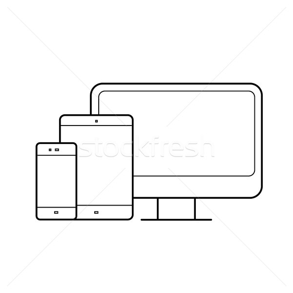 Computer monitor, tablet, phone devices line icon. Stock photo © RAStudio