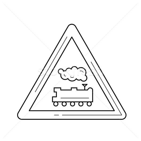 Railroad crossing line icon. Stock photo © RAStudio