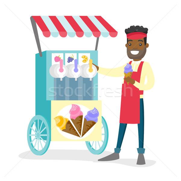 улице продавец мороженым молодые счастливым Сток-фото © RAStudio